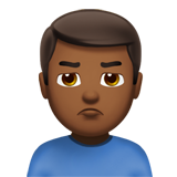 Man Pouting: Medium-Dark Skin Tone on Apple iOS 10.2