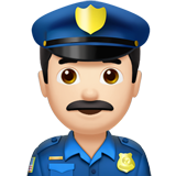 Police Officer: Light Skin Tone on Apple iOS 10.2