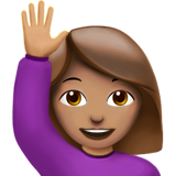 Woman Raising Hand: Medium Skin Tone on Apple iOS 10.2
