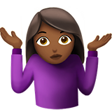Woman Shrugging: Medium-Dark Skin Tone on Apple iOS 10.2