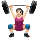 Woman Lifting Weights: Light Skin Tone on Apple iOS 10.2