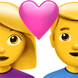 Couple with Heart: Woman, Man on Apple iOS 10.3
