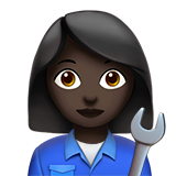 Woman Mechanic: Dark Skin Tone on Apple iOS 10.3