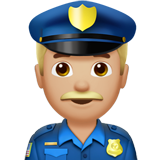 Man Police Officer: Medium-Light Skin Tone on Apple iOS 10.3