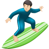 Man Surfing: Light Skin Tone on Apple iOS 10.3