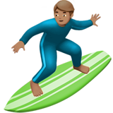 Man Surfing: Medium Skin Tone on Apple iOS 10.3