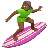 Woman Surfing: Medium-Dark Skin Tone on Apple iOS 10.3