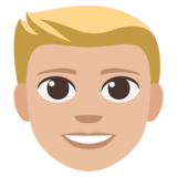 Man: Medium-Light Skin Tone, Blond Hair on JoyPixels 3.1