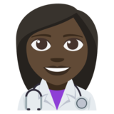 Woman Health Worker: Dark Skin Tone on JoyPixels 3.1