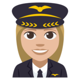 Woman Pilot: Medium-Light Skin Tone on EmojiOne 3.1