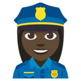 Woman Police Officer: Dark Skin Tone on JoyPixels 3.1
