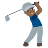 Person Golfing: Medium-Dark Skin Tone on JoyPixels 3.1