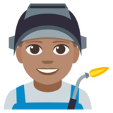 Man Factory Worker: Medium Skin Tone on JoyPixels 3.1