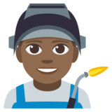 Man Factory Worker: Medium-Dark Skin Tone on JoyPixels 3.1