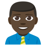 Man Office Worker: Dark Skin Tone on JoyPixels 3.1