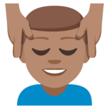 Man Getting Massage: Medium Skin Tone on EmojiOne 3.1