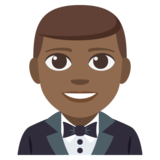 Person in Tuxedo: Medium-Dark Skin Tone on JoyPixels 3.1