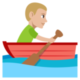 Man Rowing Boat: Medium-Light Skin Tone on JoyPixels 3.1