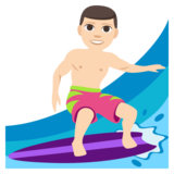 Man Surfing: Light Skin Tone on JoyPixels 3.1