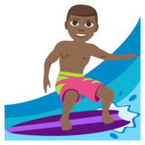 Man Surfing: Medium-Dark Skin Tone on JoyPixels 3.1