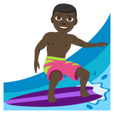 Man Surfing: Dark Skin Tone on JoyPixels 3.1