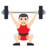 Man Lifting Weights: Light Skin Tone on JoyPixels 3.1