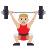 Man Lifting Weights: Medium-Light Skin Tone on JoyPixels 3.1