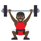 Man Lifting Weights: Dark Skin Tone on JoyPixels 3.1
