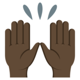 Raising Hands: Dark Skin Tone on JoyPixels 3.1