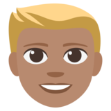 Person: Medium Skin Tone, Blond Hair on JoyPixels 3.1