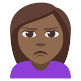 Person Pouting: Medium-Dark Skin Tone on JoyPixels 3.1