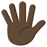 Hand With Fingers Splayed: Dark Skin Tone on JoyPixels 3.1