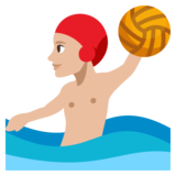 Person Playing Water Polo: Medium-Light Skin Tone on JoyPixels 3.1