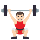 Person Lifting Weights: Light Skin Tone on JoyPixels 3.1