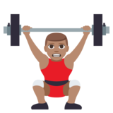 Person Lifting Weights: Medium Skin Tone on JoyPixels 3.1
