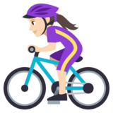 Woman Biking: Light Skin Tone on JoyPixels 3.1