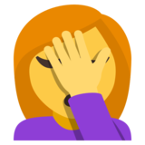 Woman Facepalming on JoyPixels 3.1