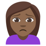 Woman Frowning: Medium-Dark Skin Tone on JoyPixels 3.1