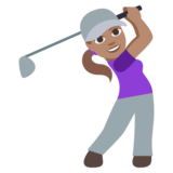Woman Golfing: Medium Skin Tone on JoyPixels 3.1