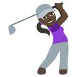 Woman Golfing: Dark Skin Tone on JoyPixels 3.1