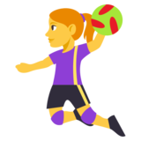 Woman Playing Handball on JoyPixels 3.1