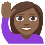 Woman Raising Hand: Medium-Dark Skin Tone on JoyPixels 3.1
