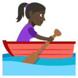 Woman Rowing Boat: Dark Skin Tone on JoyPixels 3.1