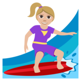Woman Surfing: Medium-Light Skin Tone on JoyPixels 3.1