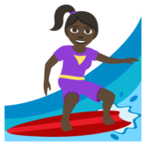 Woman Surfing: Dark Skin Tone on JoyPixels 3.1