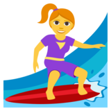 Woman Surfing on JoyPixels 3.1