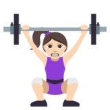 Woman Lifting Weights: Light Skin Tone on JoyPixels 3.1