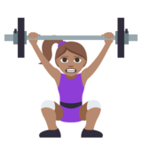 Woman Lifting Weights: Medium Skin Tone on JoyPixels 3.1