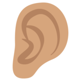 Ear: Medium Skin Tone on JoyPixels 2.0