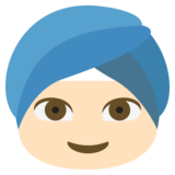 Person Wearing Turban: Light Skin Tone on JoyPixels 2.0